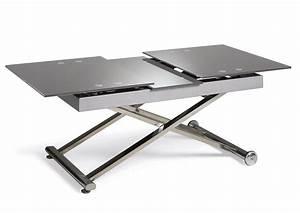 Table Verre Extensible : acheter votre table basse relevable et extensible dessus verre cappuccino chez simeuble ~ Teatrodelosmanantiales.com Idées de Décoration