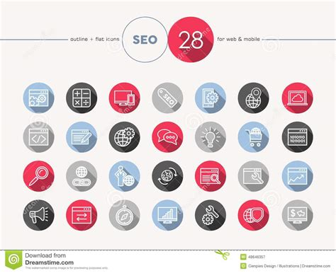 Seo Web Flat Icons Outline Style Set Stock Vector