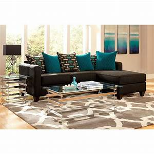 2 piece charcoal black chenille reversible chaise for Chenille fabric sectional sofa chaise lounge