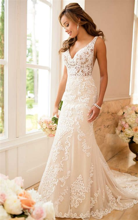 lace wedding dress with sheer cutouts stella york