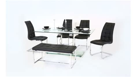 Bench Chair by Clear Glass Dining Table With Chair And Bench Set Homegenies