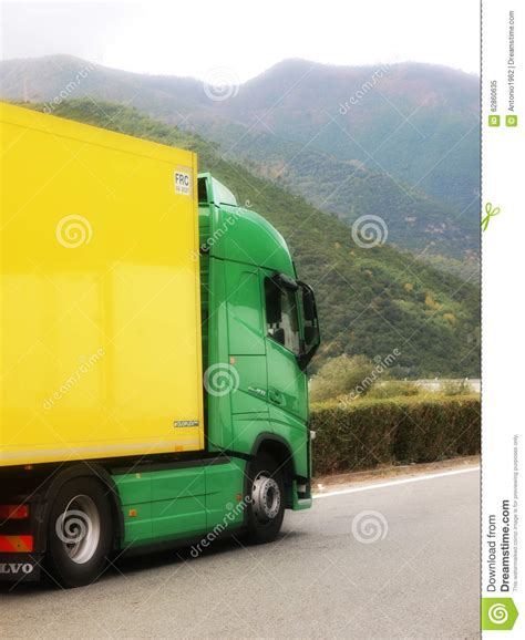 brand new volvo truck new volvo fh truck green and yelow colors editorial image