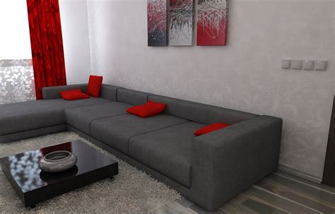 Wohnzimmer Weis Rot