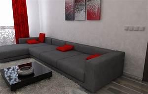 Sofa Schwarz Rot : bilder 3d interieur wohnzimmer rot grau 2 ~ Markanthonyermac.com Haus und Dekorationen