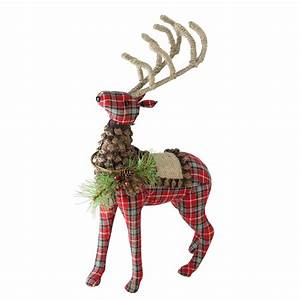 16, 75, U0026quot, Holiday, Moments, Red, Plaid, Standing, Stuffed, Reindeer, Christmas, Decoration