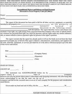 texas mechanics lien release form form resume examples With construction lien letter
