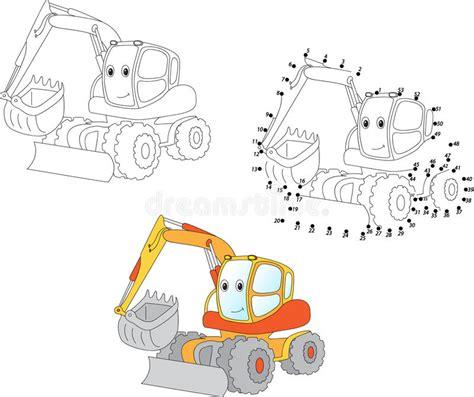 cartoon excavator vector illustration coloring  dot