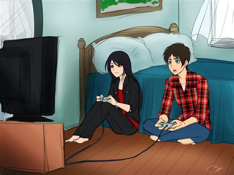 anime couple playing video games playing video games eren x veena meme art by vhenyfire
