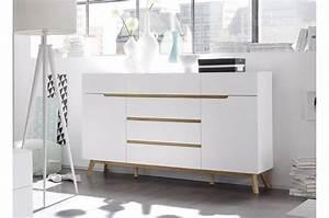 Buffet Blanc Pas Cher : buffet scandinave blanc et bois 169 cm cbc meubles ~ Teatrodelosmanantiales.com Idées de Décoration