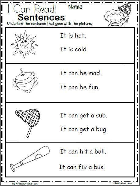 free kindergarten sentence reading worksheets kindergarten language arts reading worksheets