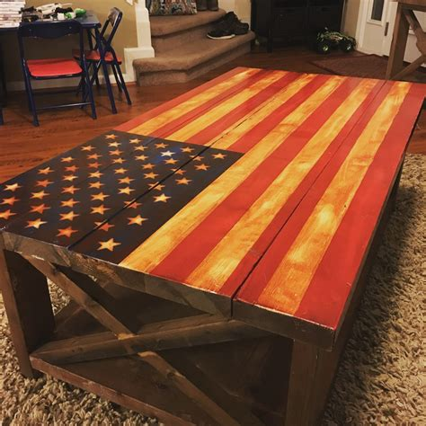 All of our flags are hand made, hand burnt, and shipped. Ana White | American Flag Rustic X table - DIY Projects