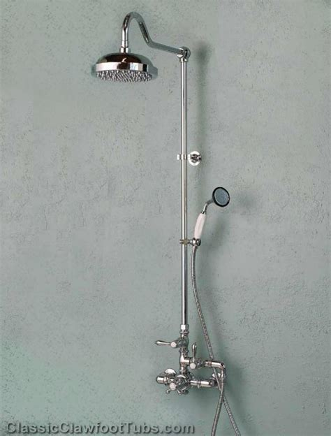 cast iron clawfoot tub exposed wall mount thermostatic shower w shower