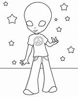 Alien Coloring Pages Hippie Printable Print Cute Cool Aliens Toy Template Story Cartoon Getdrawings Popular Wait sketch template