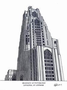 University Of Pittsburgh Drawing by Frederic Kohli