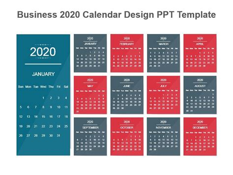 business calendar design template powerpoint shapes