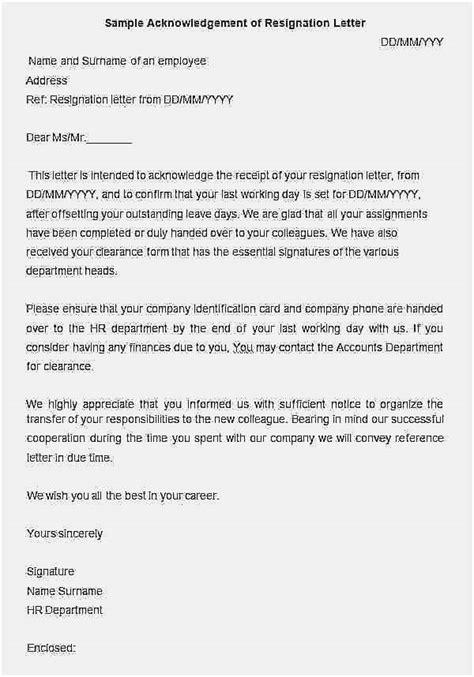 Example of resignation letter to employer