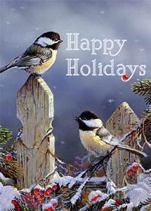 Sunny, Chickadees, In, Winter, Bird, Christmas, Card, By, Lpg