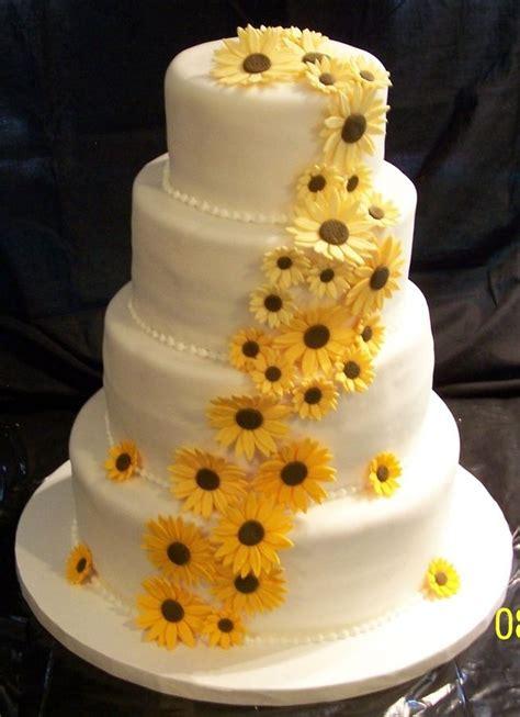rustic sunflower wedding cake sunflowers wedding