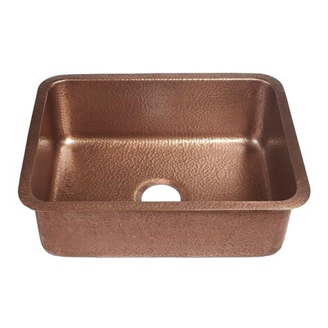copper undermount kitchen sinks sinkology renoir undermount handmade solid copper 23 in 5807