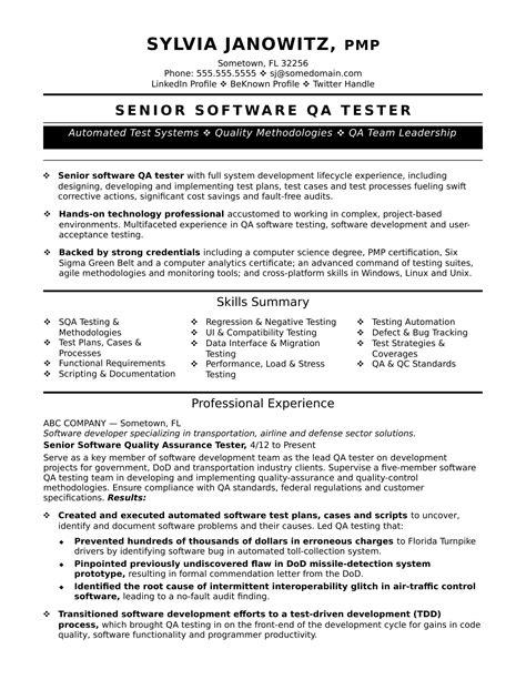 experienced qa software tester resume sample monstercom