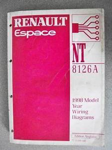 Renault Espace Wiring Diagrams Manual 1998 Model Year