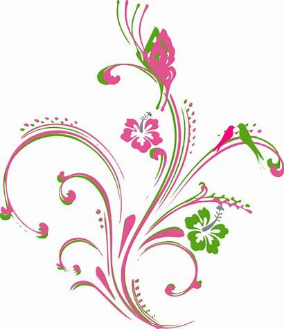 Butterfly Clip Pink Clipart Scroll Border Flower