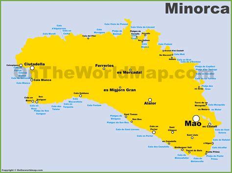 minorca maps balearic islands spain map  minorca menorca