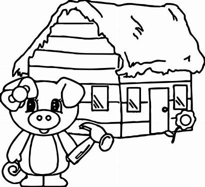 Pigs Coloring Wood Pages Three Houses Clipart