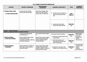 Science K To 12 Curriculum Guide