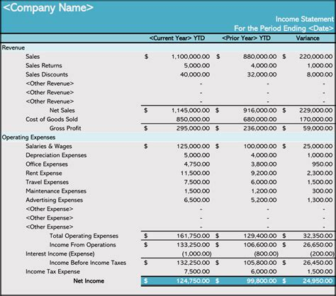 prepare  income statement   templates