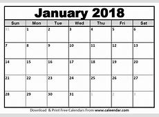 January 2018 Calendar Templates CaleendarCom