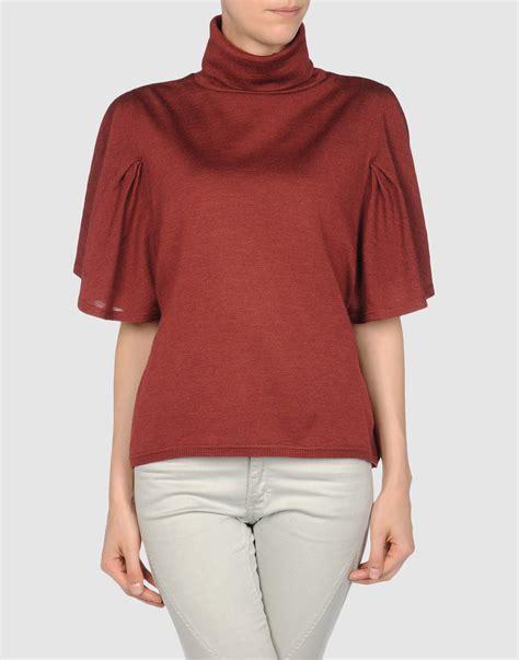 sweater shorts patrizia pepe sleeve sweater in brick lyst