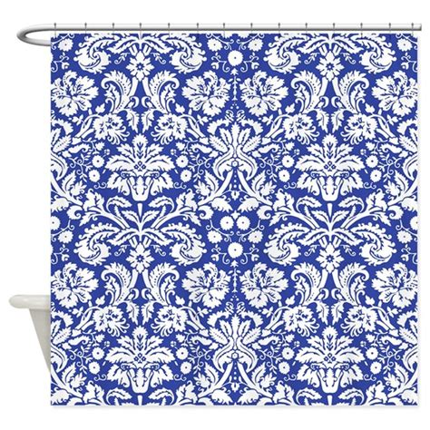 navy blue damask shower curtain by admin cp49789583