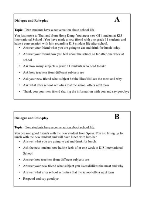dialogue  role play activity