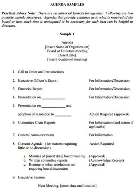 non profit board meeting agenda 205 professional meeting agenda templates demplates