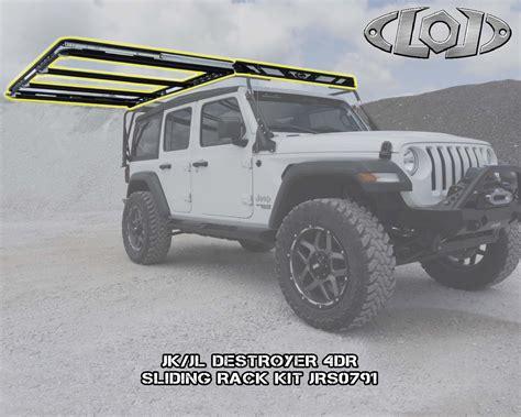 jeep jl  destroyer  door base roof rack jl sliding roof rack   jeep jl