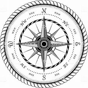 Ancient Sign Of Wind Rose Engraving Stylized