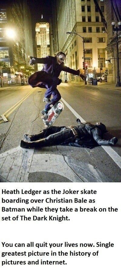 Heath Ledger The Joker Skate Boarding Over Christian