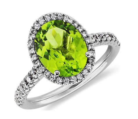 peridot wedding rings peridot and ring in 18k white gold 10x8mm blue nile