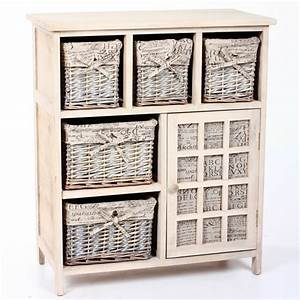 Meuble A Panier : meuble 1 porte 5 paniers lys gris ~ Teatrodelosmanantiales.com Idées de Décoration