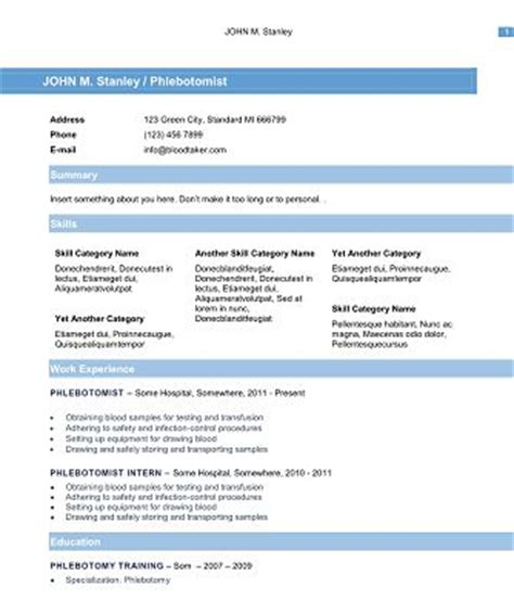 10 free phlebotomy resume templates you must see resume