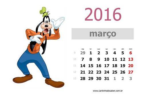 baixar calendario de março 2016 imprimir