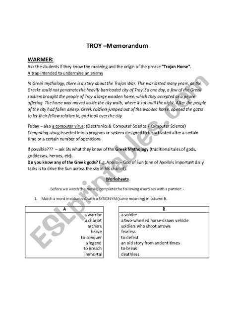 English Worksheets Troy Movie Lesson Memo  Answer Key
