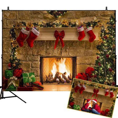 Backdrop Santa by Tree Backdrop Fireplace Photo Background White