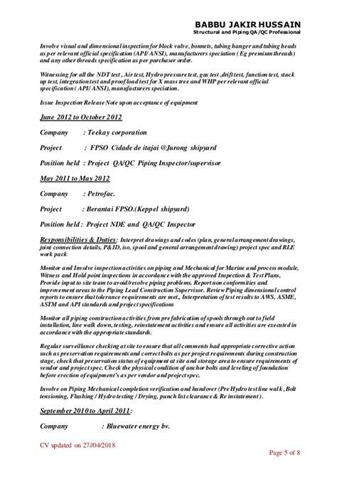 Babbu resume structural /piping supervisor/inspector