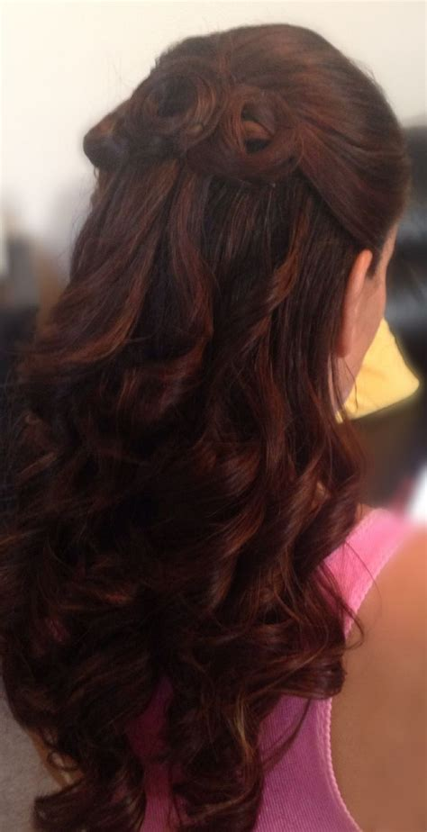 Curly Half Up Do Beautiful Medium Length Half Up And Half