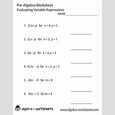 Variables Prealgebra Worksheet  Prealgebra Worksheets  Pinterest  Algebra Worksheets