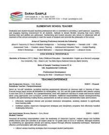 resume exles for high teachers elementary teacher resume exle teaching teacher resumes and teaching resume