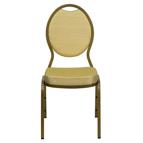 teardrop back stacking banquet chair with beige patterned