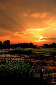Beautiful Sunset On Farm